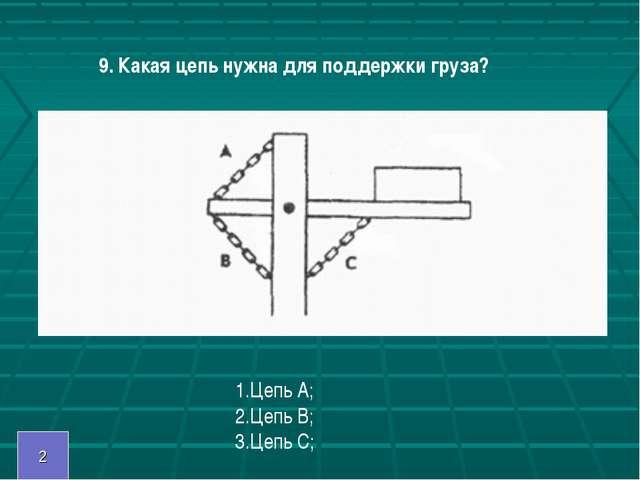 9. Какая цепь нужна для поддержки груза? 1.Цепь А; 2.Цепь В; 3.Цепь С; 2