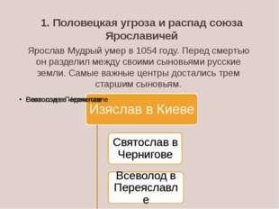 1. Половецкая угроза и распад союза Ярославичей Ярослав Мудрый умер в 1054 го