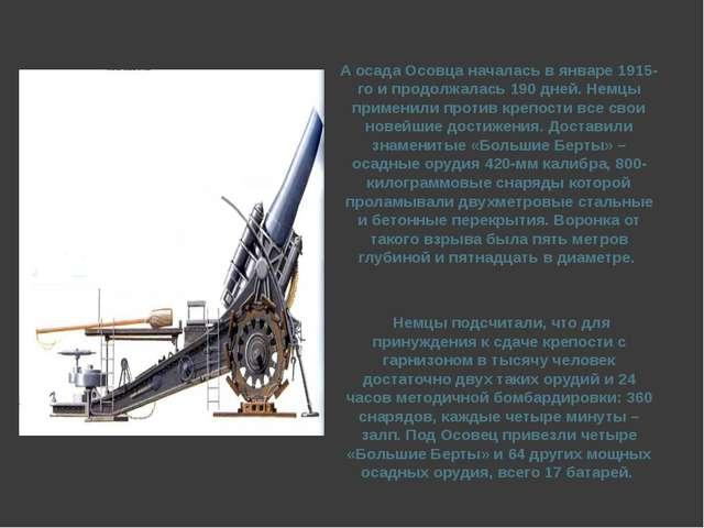 А осада Осовца началась в январе 1915-го и продолжалась 190 дней. Немцы приме...