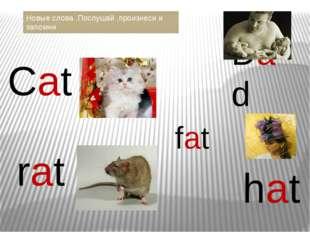 Сat fat hat rat Dad Новые слова .Послушай ,произнеси и запомни