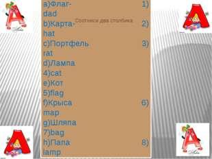 a)Флаг- 1) dad b)Карта- 2) hat c)Портфель 3) rat d)Лампа 4)cat e)Кот 5)flag f