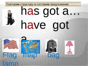 has got а… have got а… Flag map bag lamp Повторим структуру и составим предло