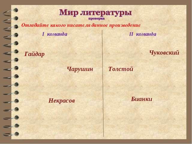Бианки Некрасов Чуковский Толстой Чарушин Гайдар I команда II команда Отгадай...