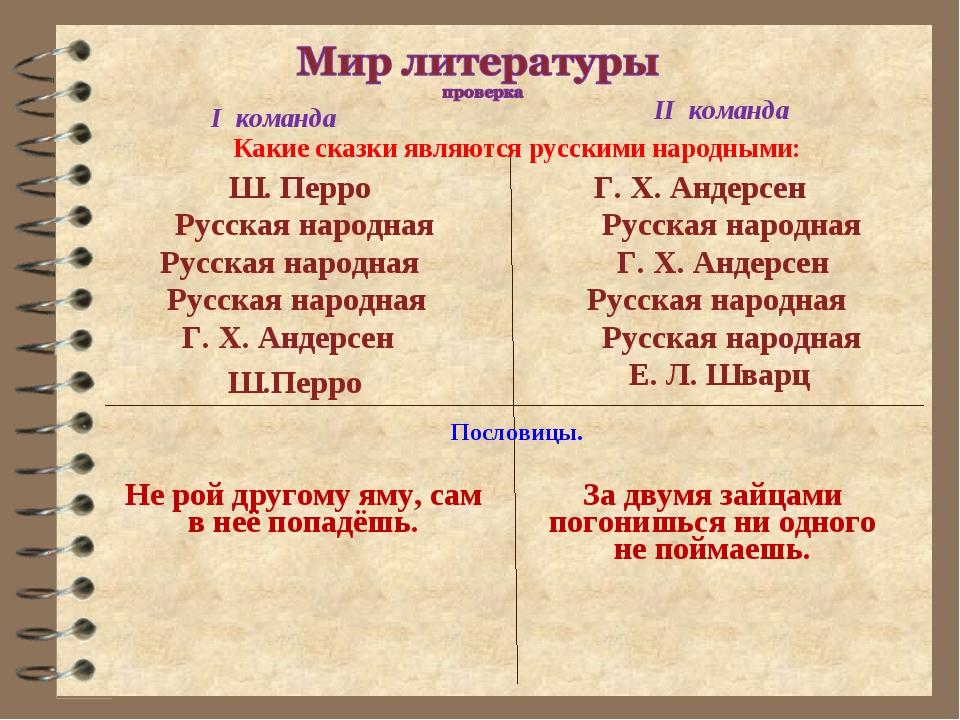 I команда II команда Какие сказки являются русскими народными: Ш. Перро Русск...