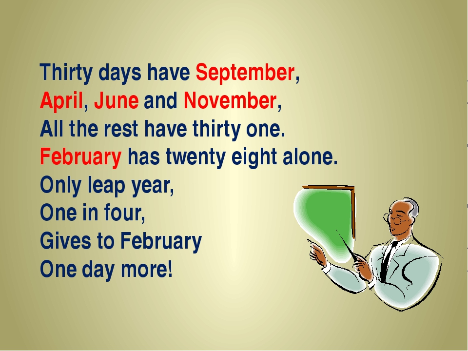 Thirty days have September, April, June and November, All the rest have thirt...