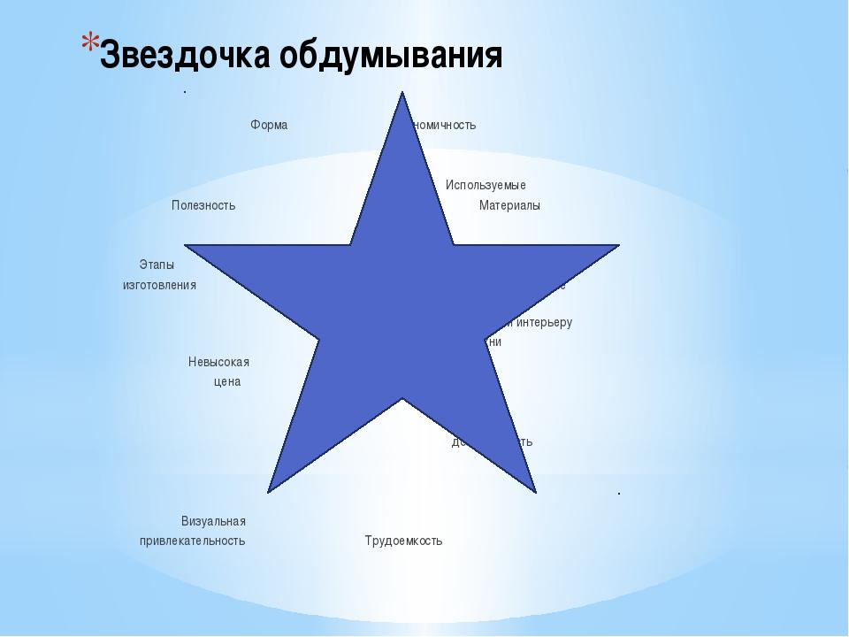 Звездочка обдумывания Форма Экономичность Используемые Полезность Материалы...