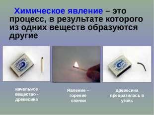 Химическое явление – это процесс, в результате которого из одних веществ обр
