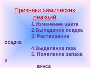 Признаки химических реакций 1.Изменение цвета 2.Выпадение осадка 3. Растворе