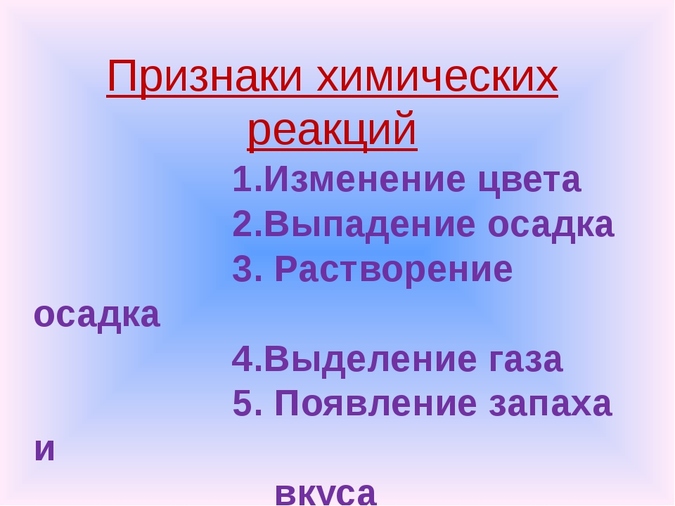 Признаки химических реакций 1.Изменение цвета 2.Выпадение осадка 3. Растворе...