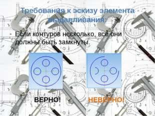 Требования к эскизу элемента выдавливания: Если контуров несколько, все они д