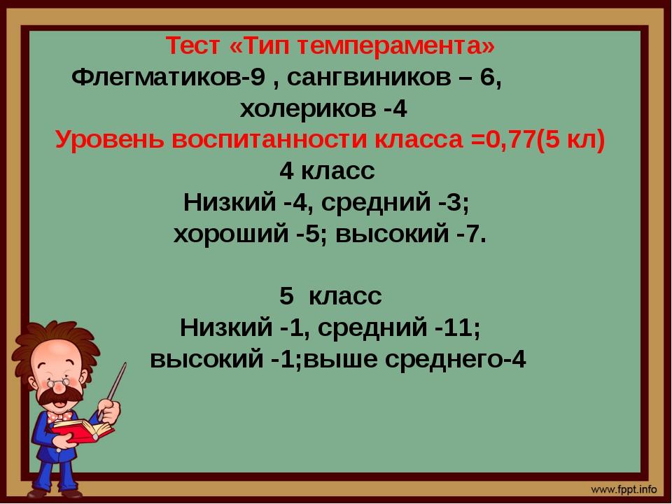Тест «Тип темперамента» Флегматиков-9 , сангвиников – 6, холериков -4 Уровень...