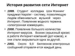 История развития сети Интернет 1999. Студент колледжа Шон Фэннинг придумал Na