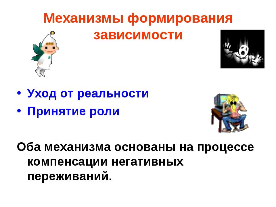 Механизмы формирования зависимости Уход от реальности Принятие роли Оба механ...