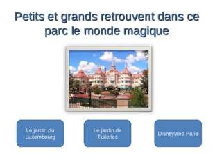 Disneyland Paris Le jardin du Luxembourg Le jardin de Tuileries Petits et gr