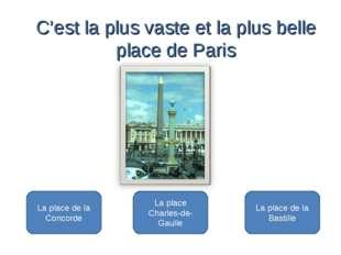 La place de la Concorde La place Charles-de- Gaulle La place de la Bastille