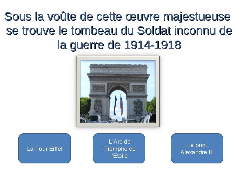 L'Arc de Triomphe de l'Etoile La Tour Eiffel Le pont Alexandre III Sous la v...