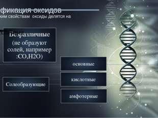 Классификация оксидов По химическим свойствам оксиды делятся на