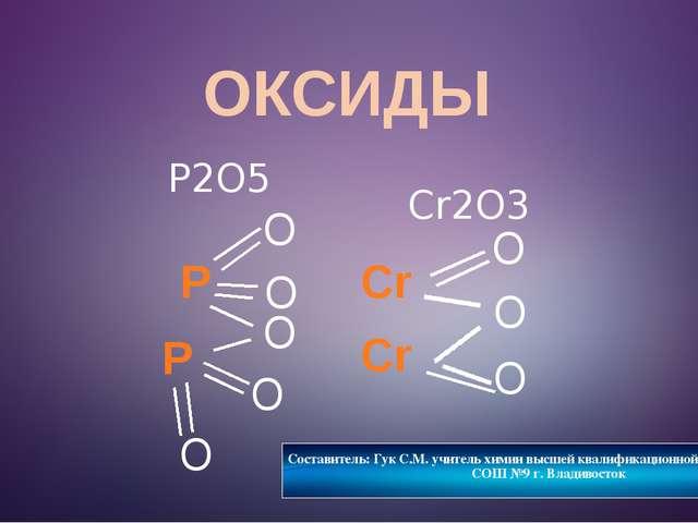 ОКСИДЫ O P2O5 Cr O P O O O P O Составитель: Гук С.М. учитель химии высшей ква...