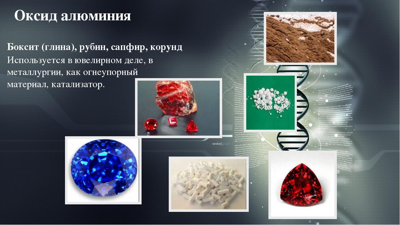 Оксид алюминия Боксит (глина), рубин, сапфир, корунд Используется в ювелирном...