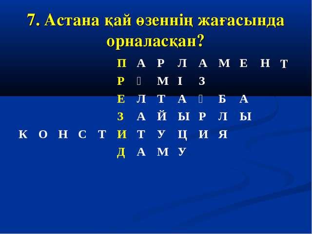 7. Астана қай өзеннің жағасында орналасқан?