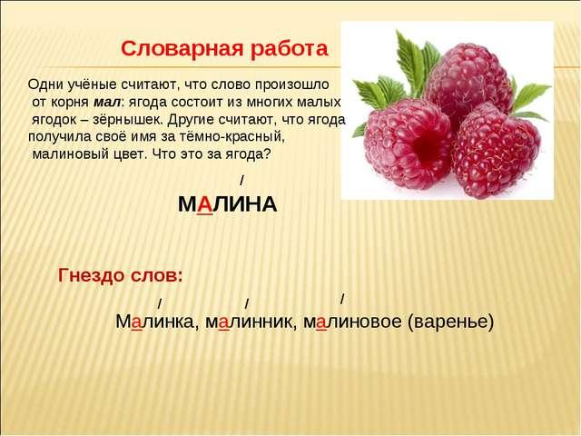 Словарная работа Одни учёные считают, что слово произошло от корня мал: ягода...