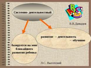 Системно- деятельностный базируется на зоне ближайшего развития ребенка разв