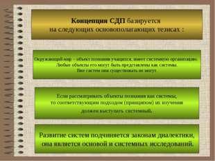 Концепция СДП базируется на следующих основополагающих тезисах : Окружающий м