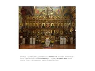 Впереди в церкви целая стена из икон – иконостас. В центре иконостаса – двер