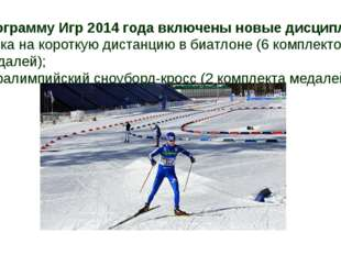 В программу Игр 2014 года включены новые дисциплины: гонка на короткую дистан