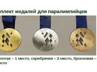 Комплект медалей для паралимпийцев золотая – 1 место, серебряная – 2 место, б