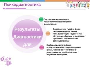 Психодиагностика Составления социально-психологических портретов школьников;