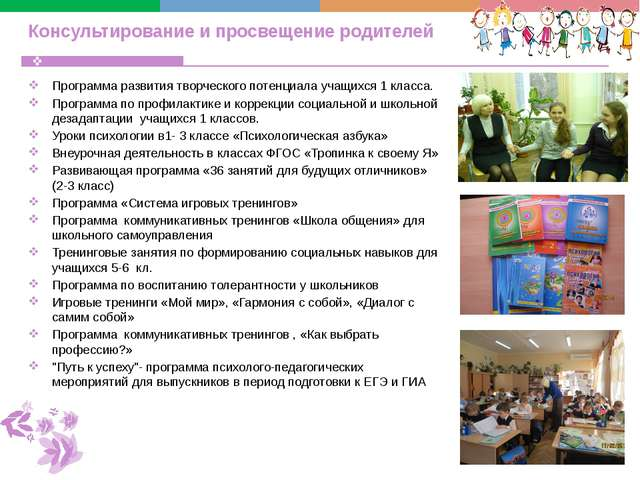 Консультирование и просвещение родителей Программа развития творческого потен...