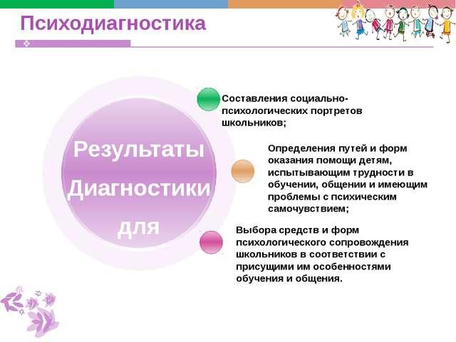 Психодиагностика Составления социально-психологических портретов школьников;...