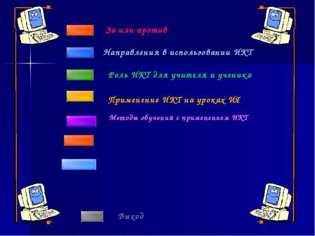 Направления в использовании ИКТ За или против Роль ИКТ для учителя и ученика...