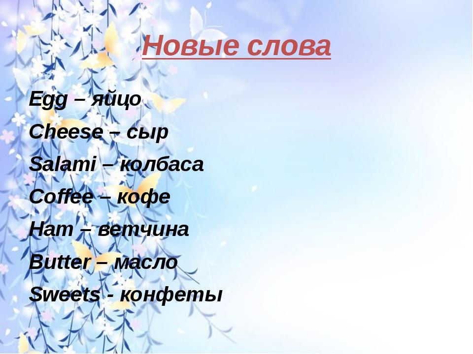 Новые слова Egg – яйцо Cheese – сыр Salami – колбаса Coffee – кофе Ham – ветч...