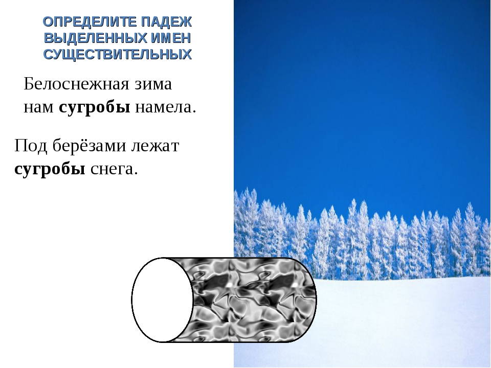 Под берёзами лежат сугробы снега. И.п. Белоснежная зима нам сугробы намела. В...