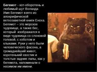 Бегемот - кот-оборотень и любимый шут Воланда Имя Бегемот взято из апокрифиче