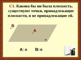 С1. Какова бы ни была плоскость, существуют точки, принадлежащие плоскости, и