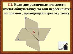 β С2. Если две различные плоскости имеют общую точку, то они пересекаются по