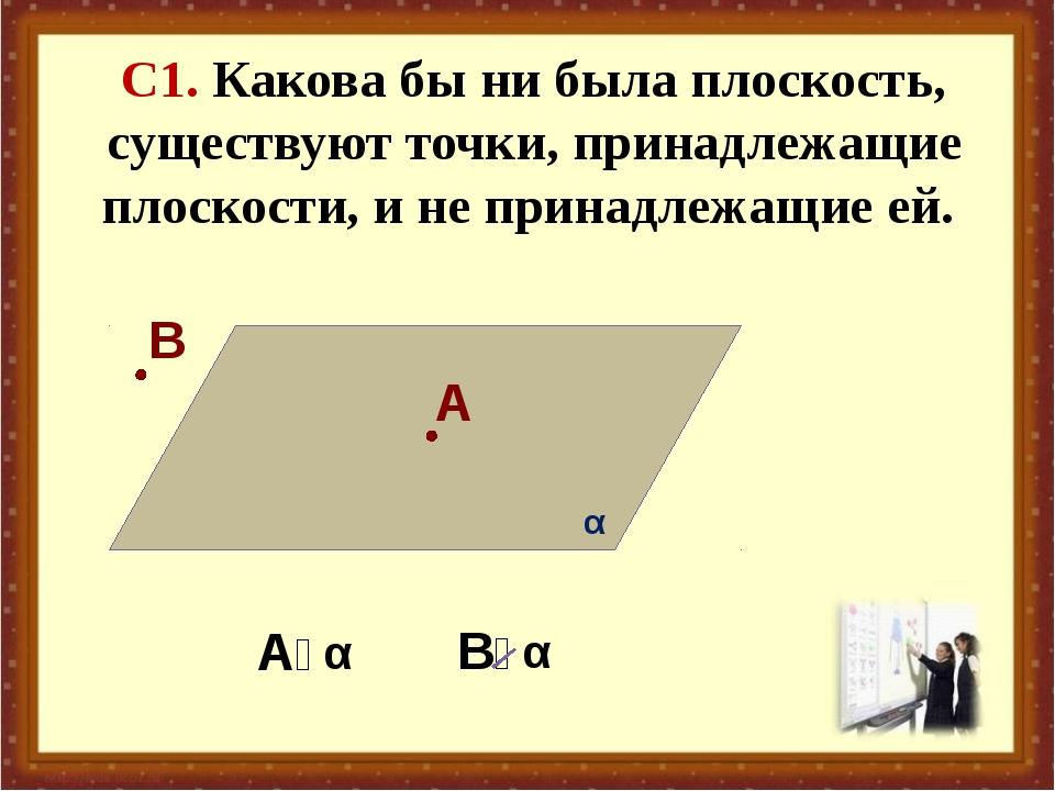 С1. Какова бы ни была плоскость, существуют точки, принадлежащие плоскости, и...