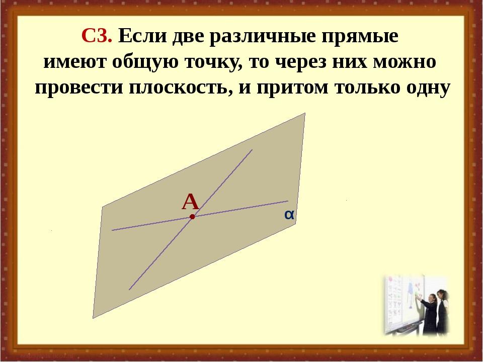 С3. Если две различные прямые имеют общую точку, то через них можно провести...