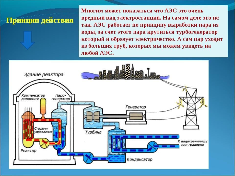 Принцип действия Многим может показаться что АЭС это очень вредный вид электр...