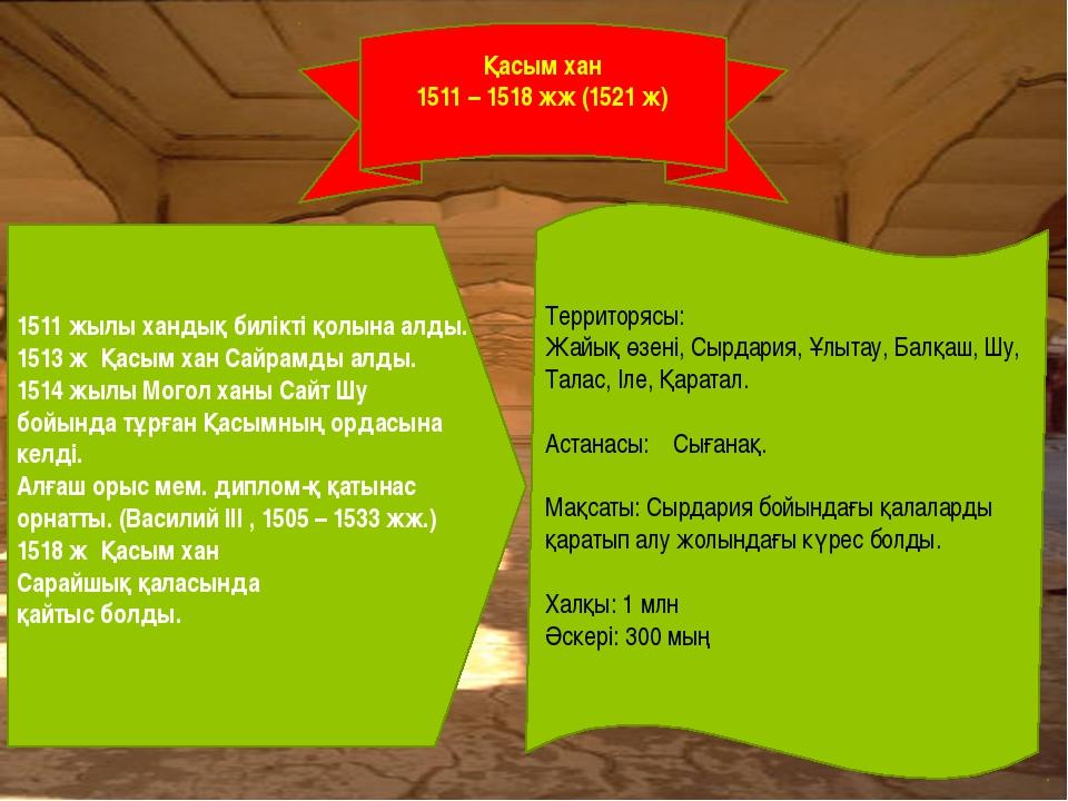 1511 жылы хандық билікті қолына алды. 1513 ж Қасым хан Сайрамды алды. 1514 жы...