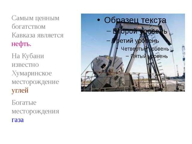 Самым ценным богатством Кавказа является нефть. На Кубани известно Хумаринско...
