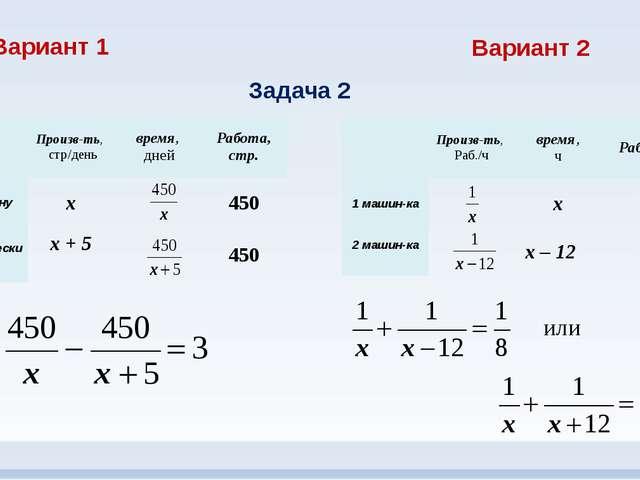 Вариант 1 Вариант 2 Задача 2 или Произв-ть, стр/день время, дней Работа, стр....