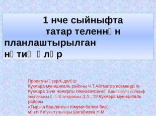 1 нче сыйныфта татар теленнән планлаштырылган нәтиҗәләр Проектны әзерләделәр