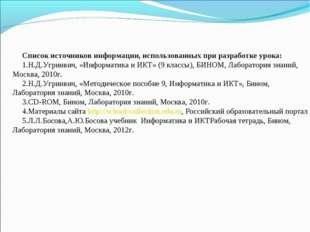 Список источников информации, использованных при разработке урока: Н.Д.Угринв