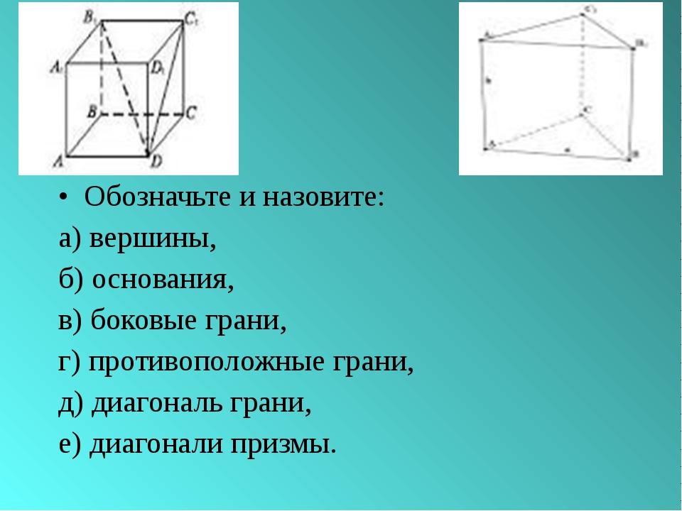 Обозначьте и назовите: а) вершины, б) основания, в) боковые грани, г) противо...