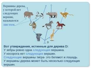 Вот утверждения, истинные для дерева D: У зебры ровно одна следующая вершина.