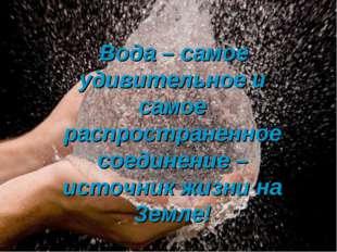 Вода – самое удивительное и самое распространенное соединение – источник жиз